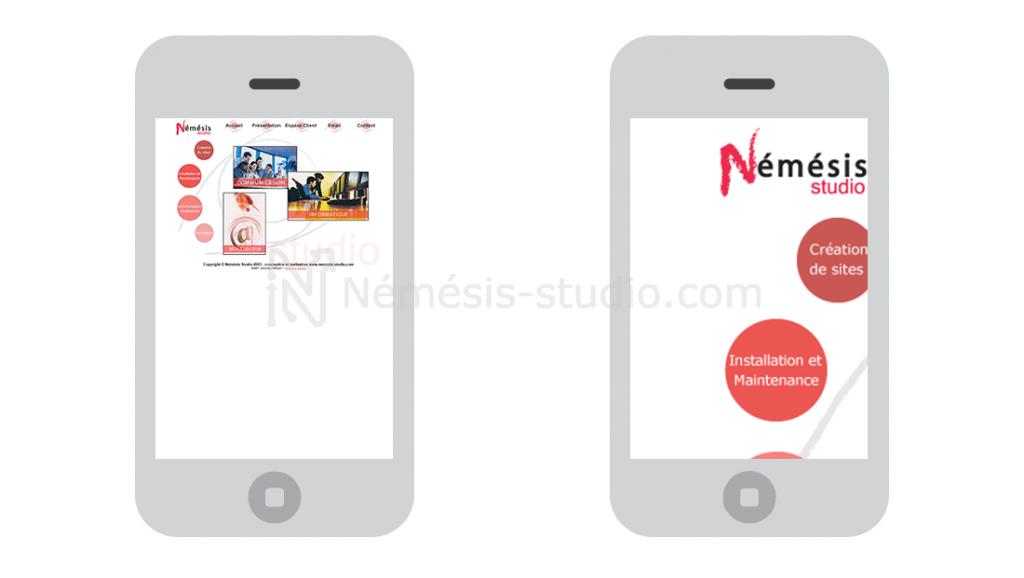 Exemple site obsolète Némésis studio
